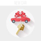 Nieuwe Auto met Sleutel en Lintpictogram, Vlakke Vector Royalty-vrije Stock Afbeeldingen