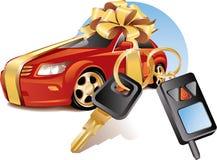 Nieuwe auto met sleutels Stock Foto
