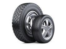 Nieuwe autowielen met schijf voor auto's en vrachtwagens stock illustratie