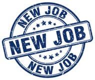 Nieuwe baan blauwe zegel stock illustratie