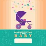 Nieuwe baby - de geboren Wandelwagen van de Groetkaart Stock Afbeelding