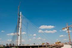 Nieuwe Belgrado brug op rivier Sava 17 Stock Afbeelding