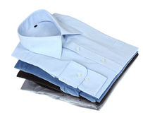 Nieuwe blauwe en grijze man overhemden Stock Foto