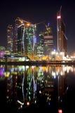 Nieuwe bouw in Moskou bij nacht Royalty-vrije Stock Afbeeldingen