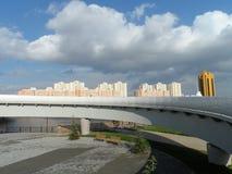 Nieuwe brug in Astana stock foto's