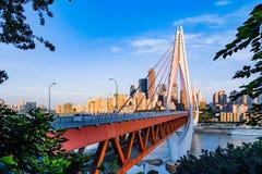 Nieuwe brug in Chongqing Stock Afbeeldingen