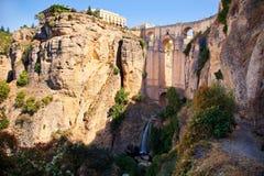 Nieuwe Brug en dalingen van Ronda, Andalusia, Spanje. Royalty-vrije Stock Afbeelding