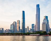 Nieuwe CBD van Guangzhou bij zonsondergang 3 Royalty-vrije Stock Foto's