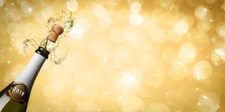 Nieuwe de champagneexplosie van de jaar 2019 banner stock foto's