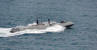 Nieuwe de hoge snelheids zeeinterceptor van de Marine van Singapore stock foto's