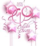 Nieuwe de uitnodigingskaart van de jaar 2019 viering met roze decoratie en volumeaantallen stock illustratie
