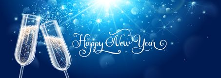 Nieuwe de vieringsachtergrond van de jarenvooravond met champagne Stock Afbeeldingen