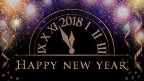 Nieuwe de vieringsachtergrond van de jarenvooravond met kleurrijk partijvuurwerk, klok met 2018, tekst royalty-vrije illustratie