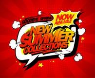 Nieuwe de zomerinzamelingen nu, vector de afficheontwerp van de toespraakbel stock illustratie