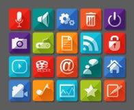 Nieuwe die app pictogrammen in vlakte worden geplaatst royalty-vrije illustratie