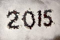 nieuwe die het jaarinschrijving van 2015 op venster wordt geschreven Royalty-vrije Stock Afbeelding
