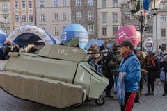 Nieuwe die jaar` s Vooravond in Krakau in werking wordt gesteld Royalty-vrije Stock Foto