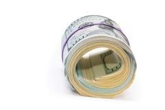 Nieuwe 100 dollars door dichte omhooggaand Royalty-vrije Stock Foto's