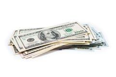 Nieuwe 100 dollars door dichte omhooggaand Stock Afbeeldingen