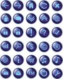 Nieuwe donkerblauwe Webpictogrammen, knopen Stock Foto's