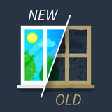 Nieuwe en oude venstervergelijking Stock Foto's