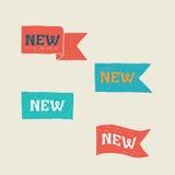 Nieuwe etiketten Illustratie op witte achtergrond Stock Afbeeldingen