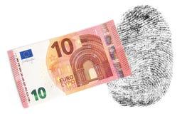 Nieuwe Euro Nota tien verlaat geen vingerafdrukken Stock Foto's