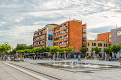 Nieuwe fontein Scanderbeg Vierkante Pristina stock afbeelding