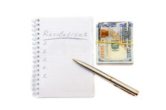 Nieuwe geïsoleerde jarenresoluties en pen Royalty-vrije Stock Afbeeldingen