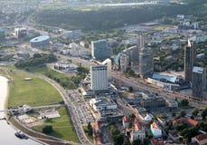 Nieuwe gebouwen in Vilnius Litouwen, luchtmening Stock Fotografie