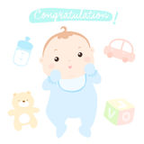 Nieuwe gelukwens weinig babyjongen Royalty-vrije Illustratie