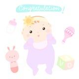 Nieuwe gelukwens weinig babymeisje Vector Illustratie