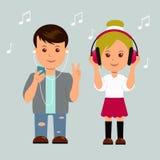 Nieuwe generatie Jongen en meisje in hoofdtelefoons De geïsoleerde minnaars van de tienerjarenmuziek Stock Afbeeldingen