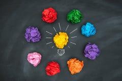 Nieuwe goede ideeën, kleurrijke Document Bal op Bord royalty-vrije stock afbeeldingen