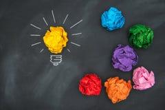 Nieuwe goede ideeën, kleurrijke Document Bal op Bord stock foto