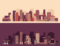 Nieuwe Grote Stad, Megapolis, dag en nacht, Gebouwen Stock Foto
