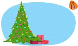 Nieuwe het beeldkerstboom van de jaar 2017 illustratie op een blauwe achtergrond Stock Afbeelding