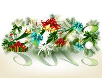 Nieuwe het jaar 2013 kaart van Kerstmis Stock Foto