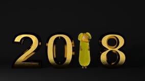 nieuwe het jaar gouden achtergrond van 2018 het 3d teruggeven Stock Afbeelding