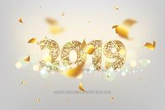 nieuwe het jaar gouden banner van 2019 Stock Afbeeldingen
