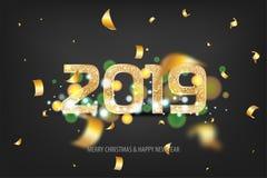 nieuwe het jaar gouden banner van 2019 Royalty-vrije Stock Foto's