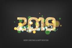 nieuwe het jaar gouden banner van 2019 Royalty-vrije Stock Foto