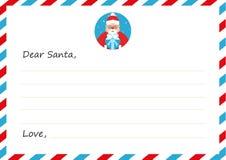 Nieuwe het jaar` s brief van de malplaatjeenvelop aan leuke Santa Claus met pictogram Vector illustratie Vlak Ontwerp Royalty-vrije Stock Afbeelding