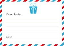 Nieuwe het jaar` s brief van de malplaatjeenvelop aan Santa Claus Vector illustratie Pictogramgift Vlak Ontwerp Stock Afbeeldingen