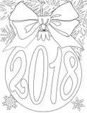 nieuwe het jaar zwart-witte affiche van 2018 met boomtak, snuisterijbal, lint en sneeuwvlokken Stock Fotografie