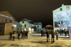 Nieuwe het jaarclebration van 2019 op oud stadscentrum De winter en vuurwerk Reis stedelijke foto 2019 stock foto's