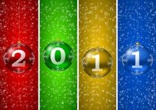 nieuwe het jaarillustratie van 2011 met Kerstmisballen Royalty-vrije Stock Afbeeldingen