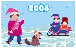 nieuwe het jaarkaart van 2008 met jonge geitjes Royalty-vrije Stock Afbeelding