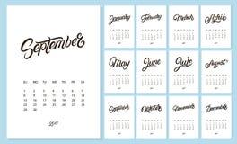 nieuwe het jaarkalender van 2019 stock illustratie