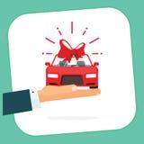 Nieuwe het kentekenvector van de autogift, auto huidig met boog, het handel drijven vector illustratie